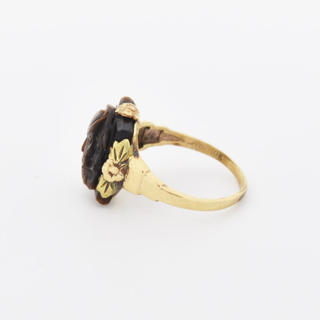 10k Yellow Gold Antique Carved Tiger Eye Intaglio Ring Size 5