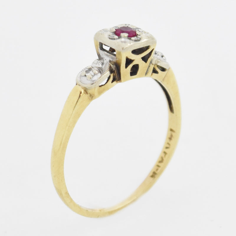 14k Yellow & White Gold Vintage Ruby & Diamond Ring Size 6.75