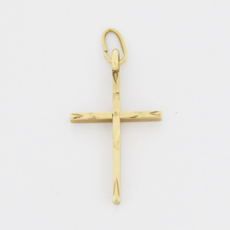 10k Yellow Gold Estate Textured Cross Pendant