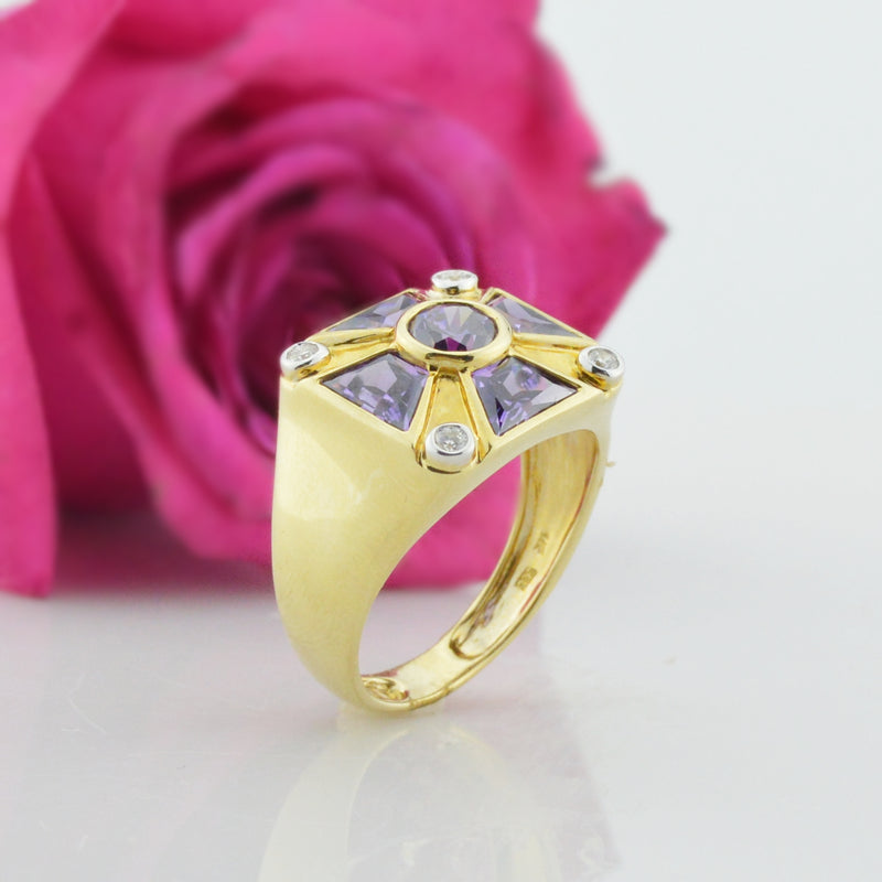 14k Yellow Gold Estate Purple Tourmaline & Diamond Ring Size 13.5
