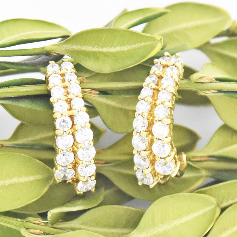 14k Yellow Gold Estate Double Row CZ J Hoop Post Earrings