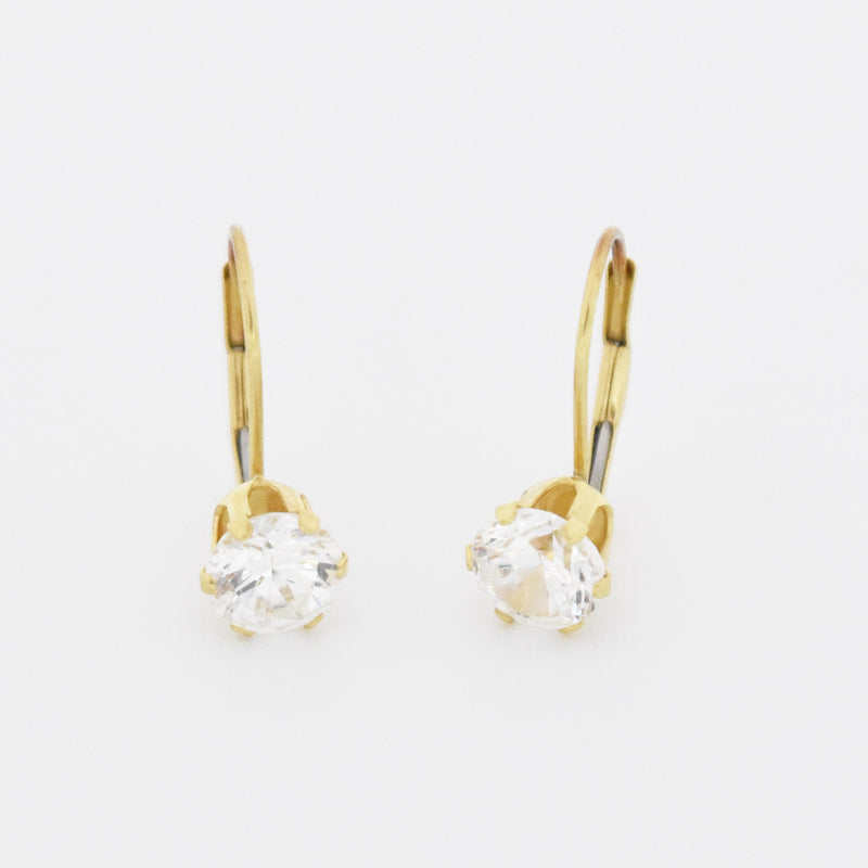 14k Yellow Gold Estate White Gemstone Leverback Earring