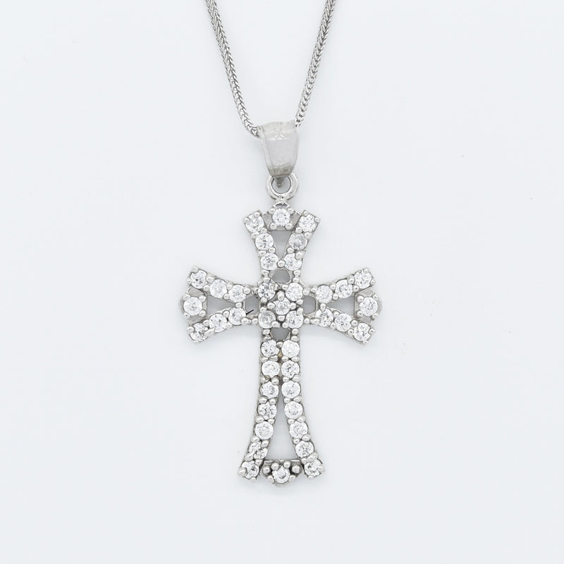 "10k White Gold Estate 18"" Wheat Link CZ Open Cross Necklace"