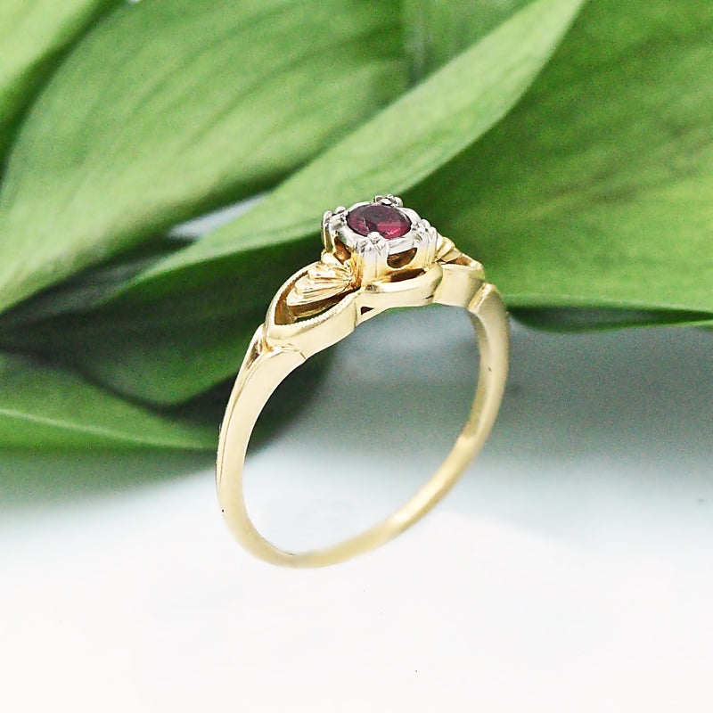 14k Yellow & White Gold Antique Open Work Ruby Ring Size 7.75