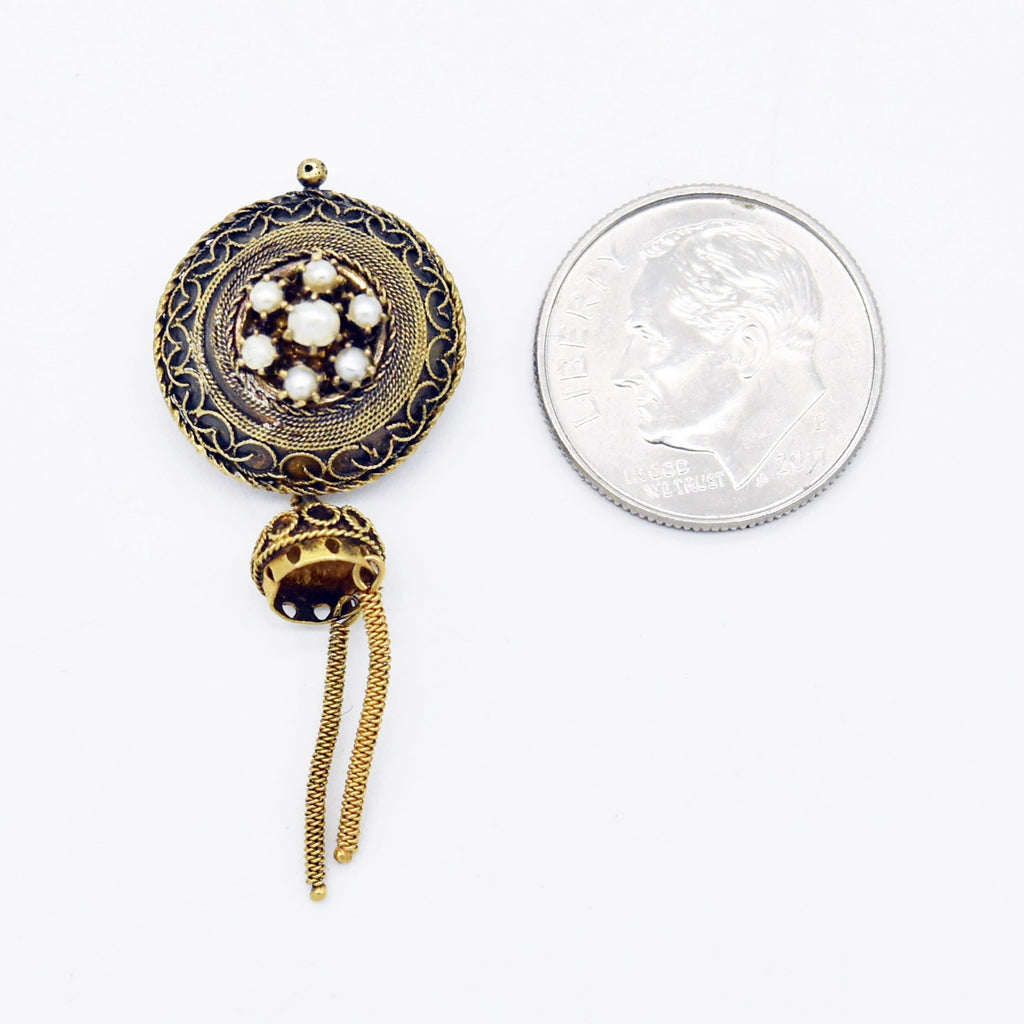 14k Yellow Gold Antique Ornate Pearl Tassel Pin