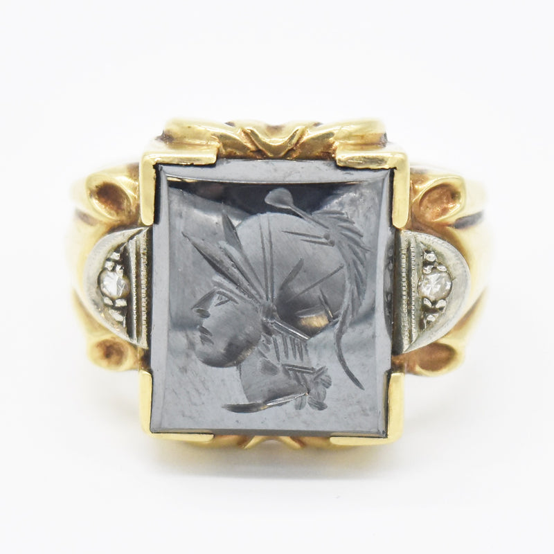 10k YG Antique Carved Hemitite & Diamond Soldier Ring Size 9.5