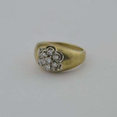 10k Yellow Gold Vintage CZ Cluster Ring Size 8.5