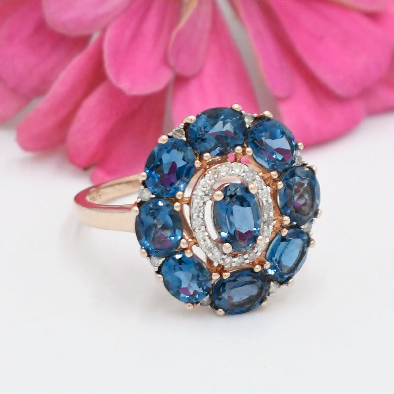 14k Rose Gold Estate Topaz & Diamond .15 tcw Cocktail Ring Size 7.25