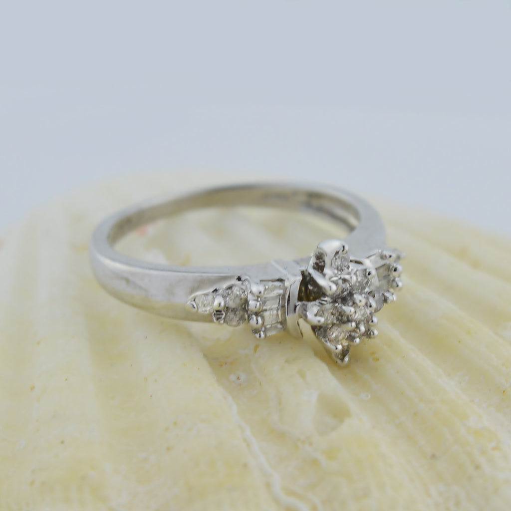10k White Gold Estate Diamond Multistone Ring Size 6.25