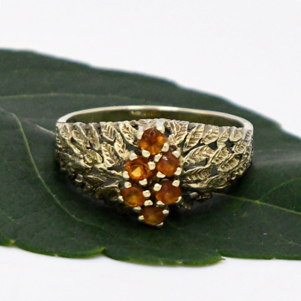 14k Yellow Gold Estate Textured Citrine Gemstone Cluster Ring Size 8