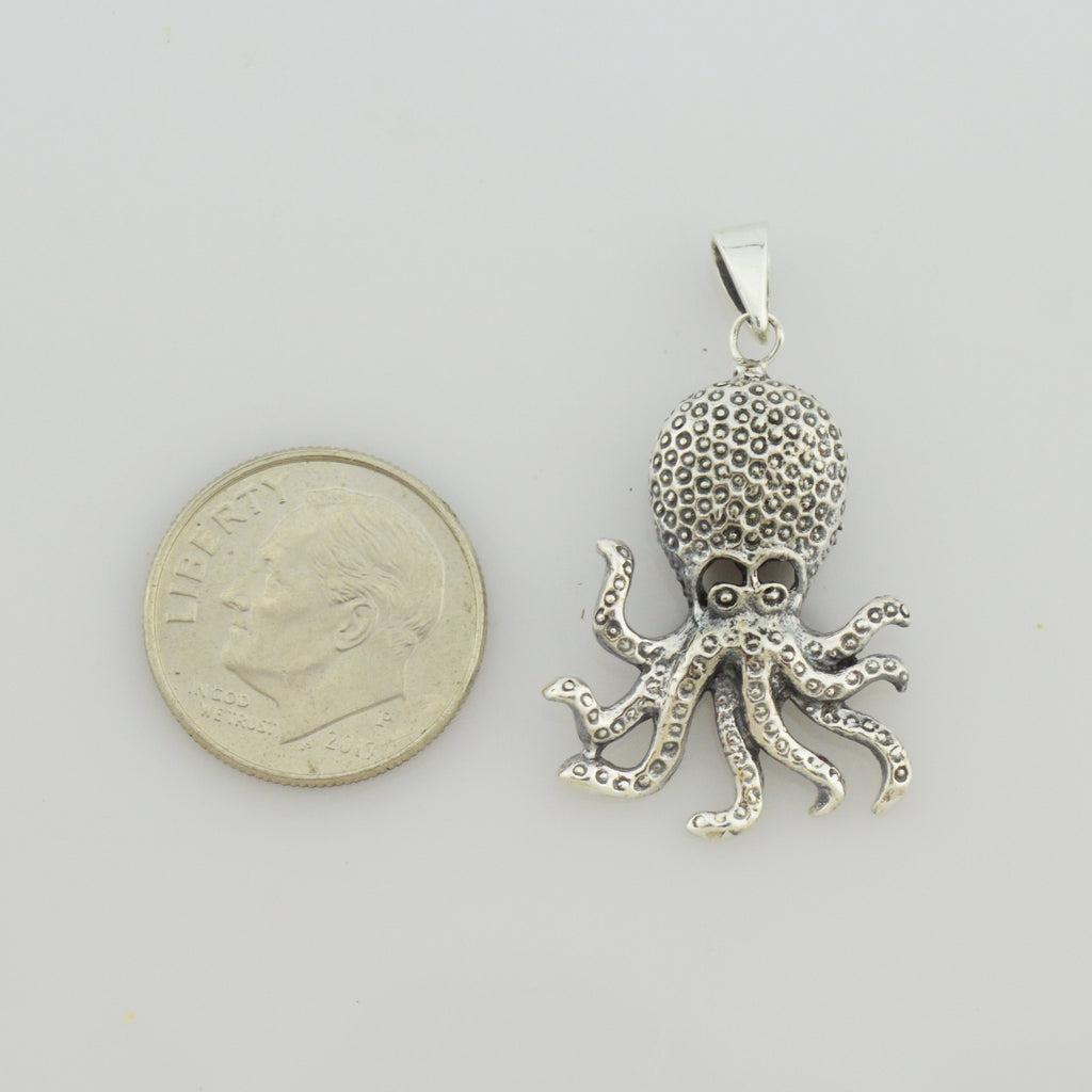 NEW Sterling Silver 925 Speckled Sea Creature Octopus Cephalopod Animal Pendant