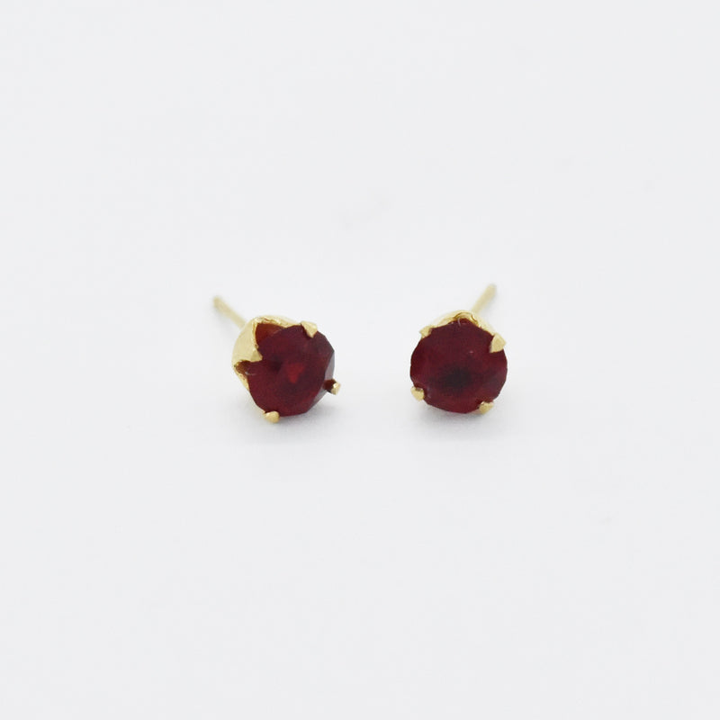 14k Yellow Gold Estate Red Gemstone Post/Stud Earrings