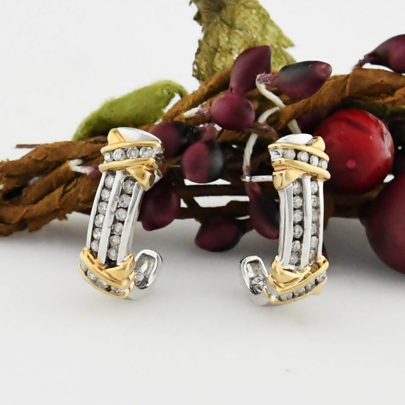 10k White & Yellow Gold Estate Diamond J Hoop Earrings .40 tcw