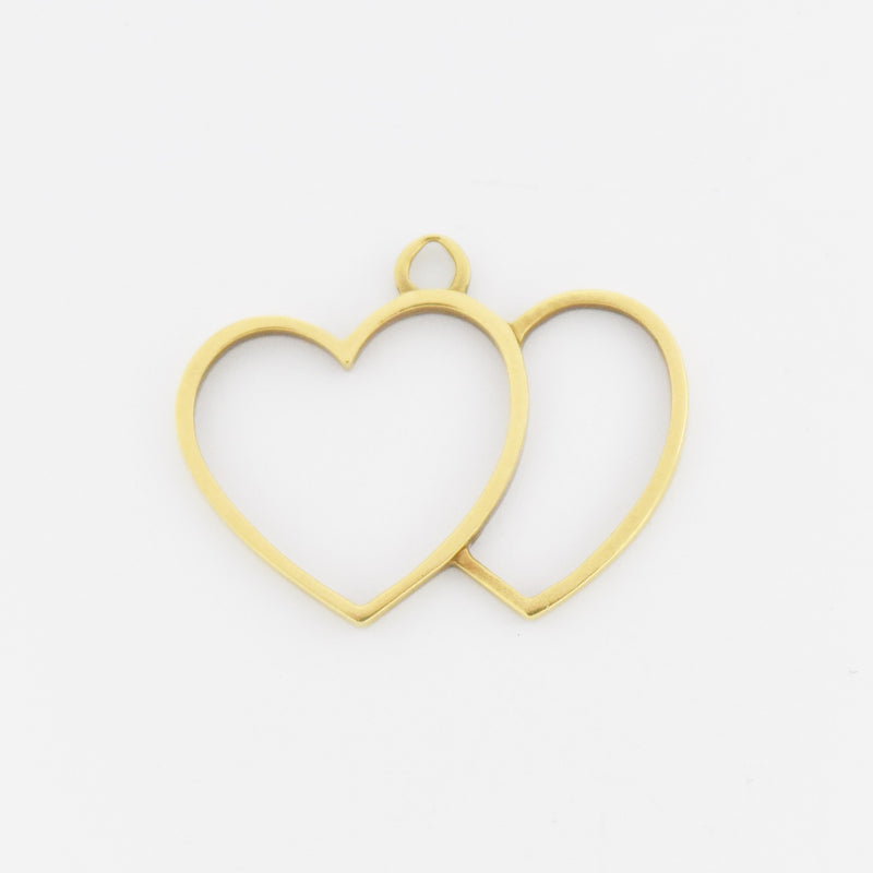 18k Yellow Gold Estate Open Double Heart Pendant