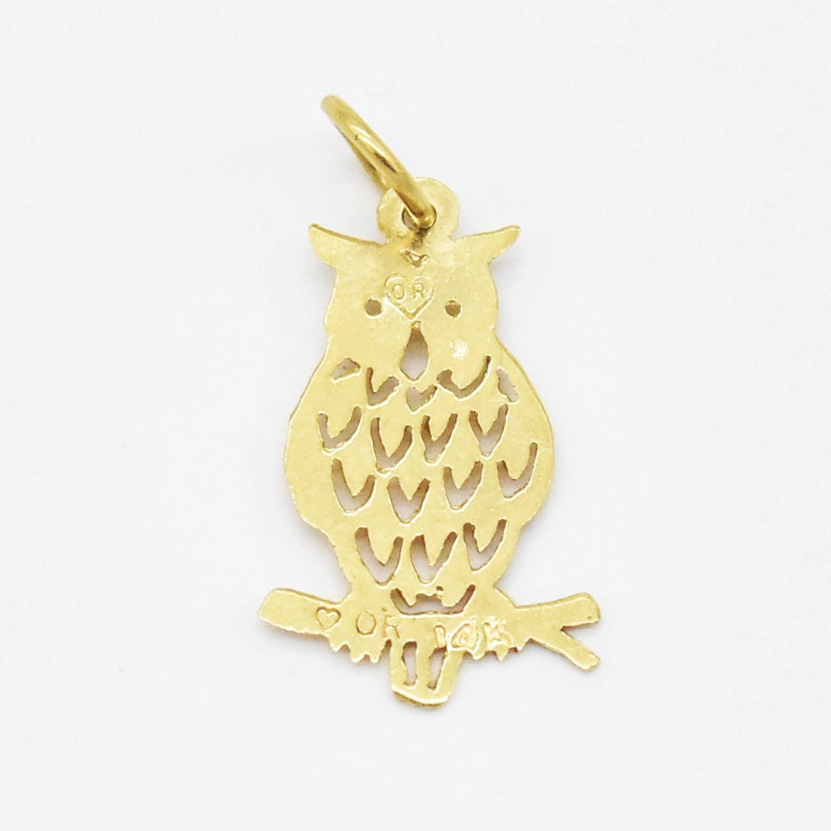 14k Yellow Gold Estate Open Work Owl Animal Pendant