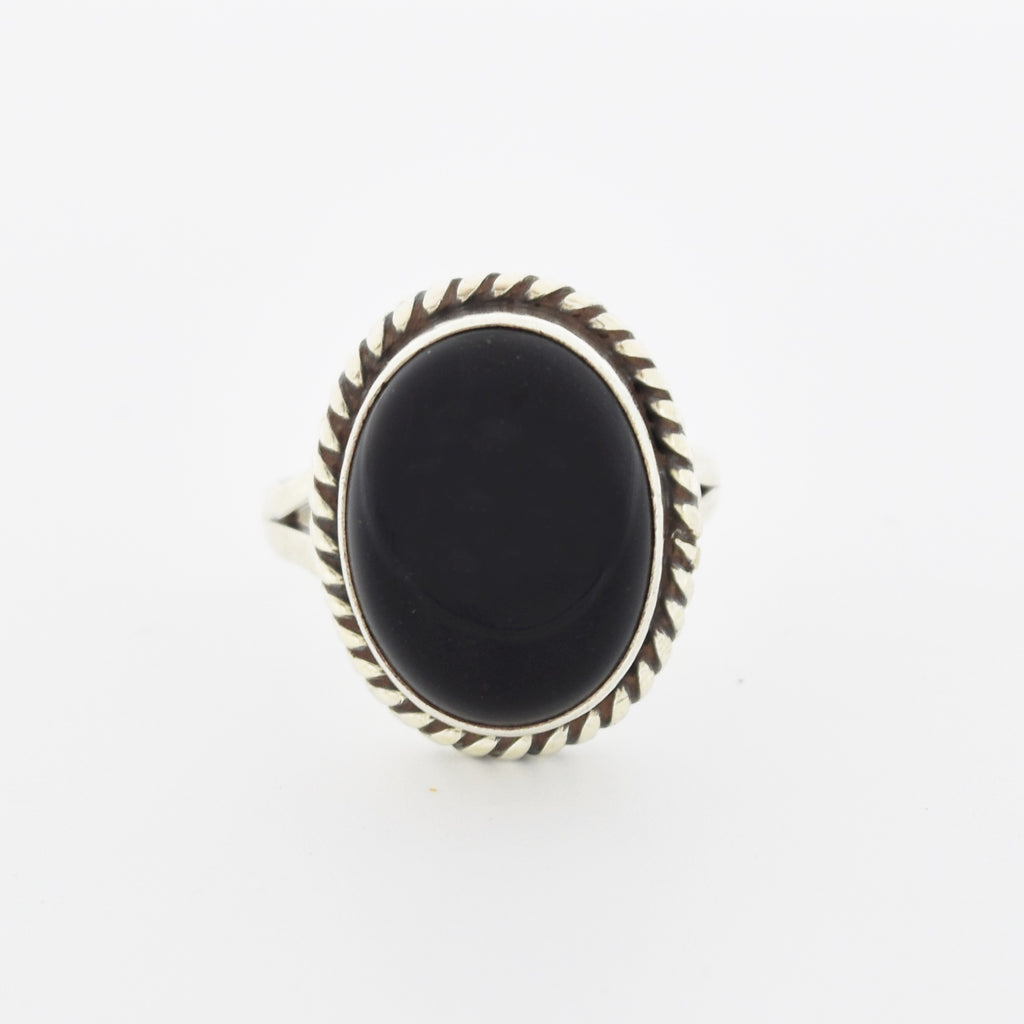 Sterling Silver 925 Estate Oval Cabochon Black Onyx Ring Size 6.75