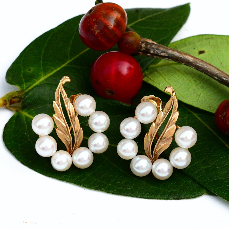 14k Yellow Gold Estate Nature/Leaf & 4.5 mm Pearl Cluster Earrings
