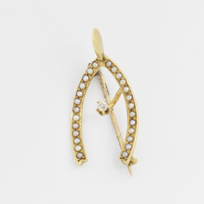 14k Yellow Gold Antique Diamond & Seed Pearl Wishbone Pin/Brooch