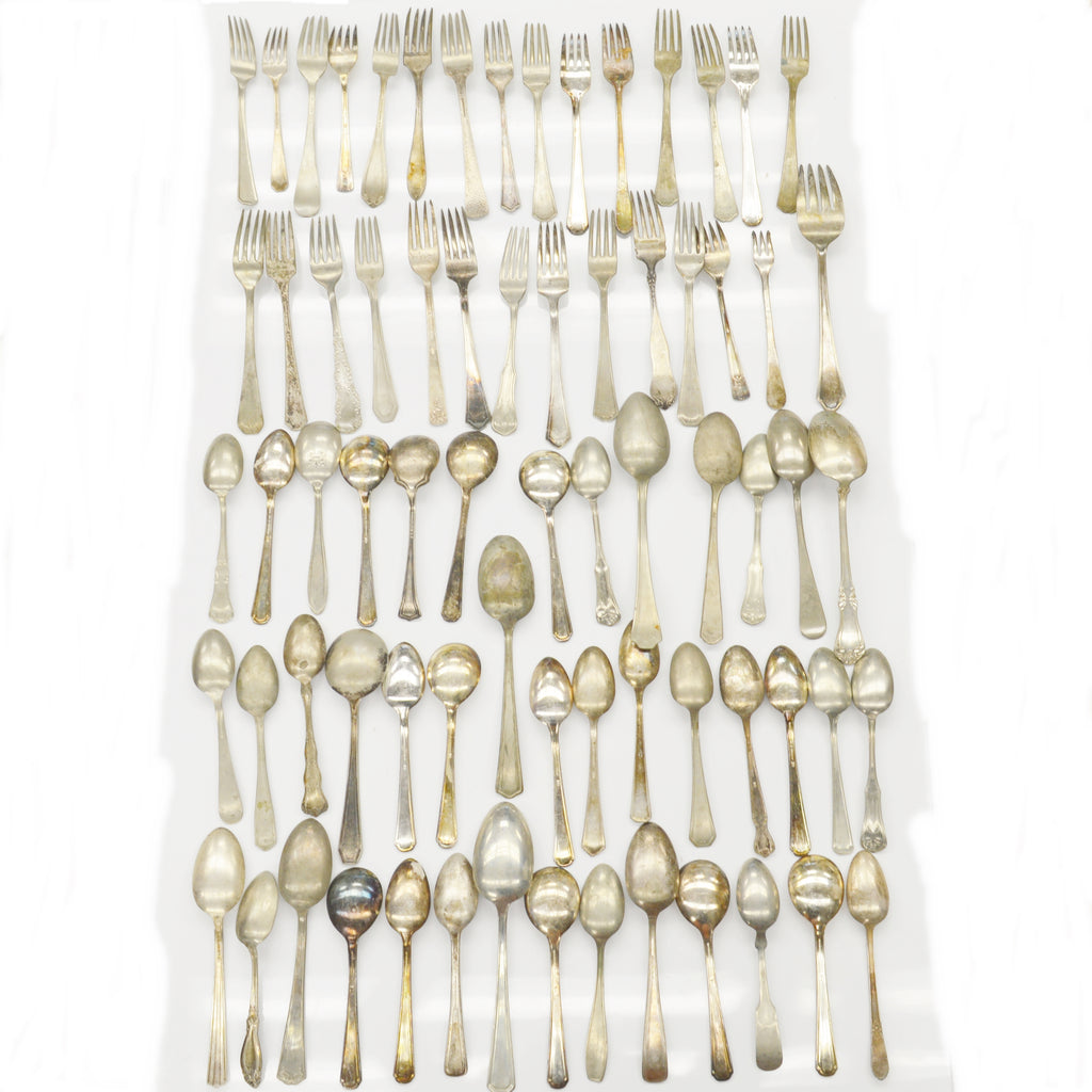 100 Pce Vintage Silver Plate Arts & Crafts Spoon/Fork Flatware Lot