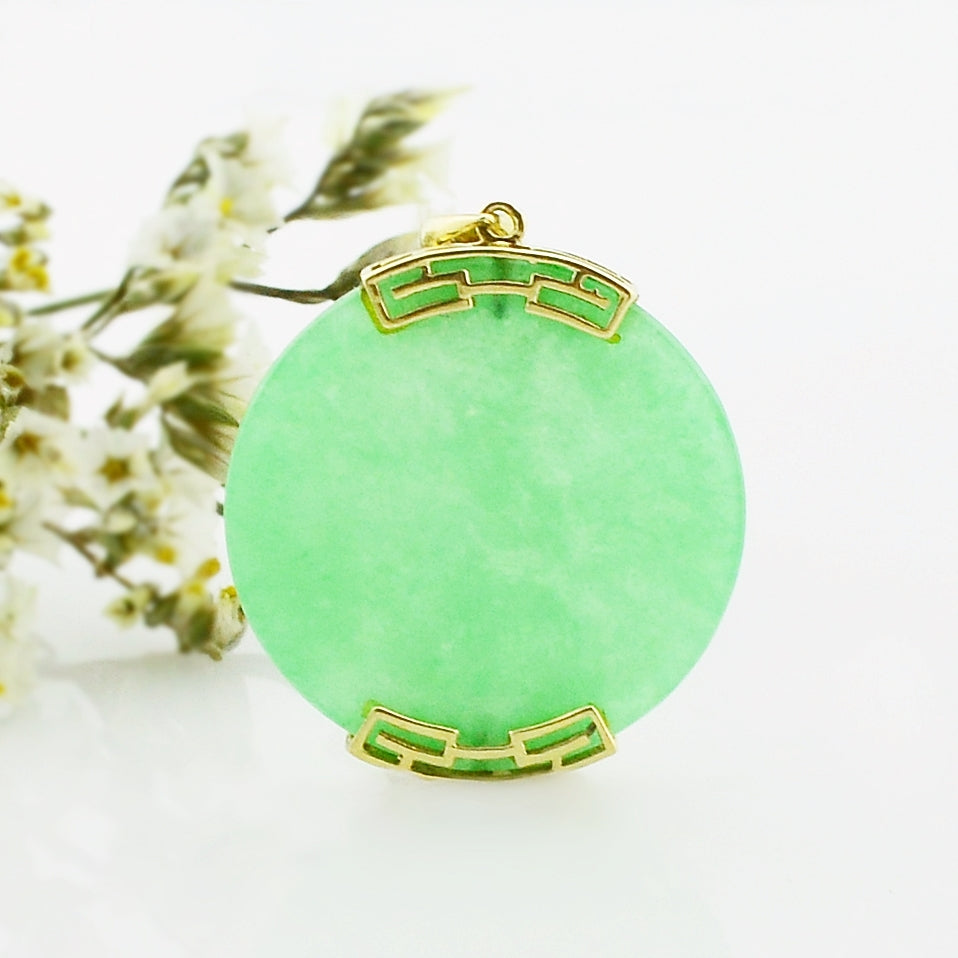 14k Yellow Gold Estate Circle Jade Pendant