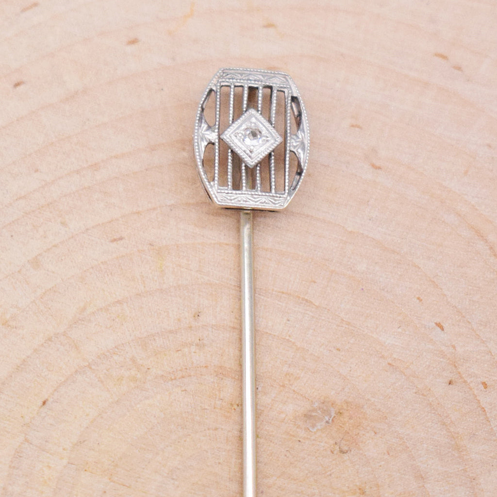 14k WG Antique Art Deco White Sapphire Stick Pin
