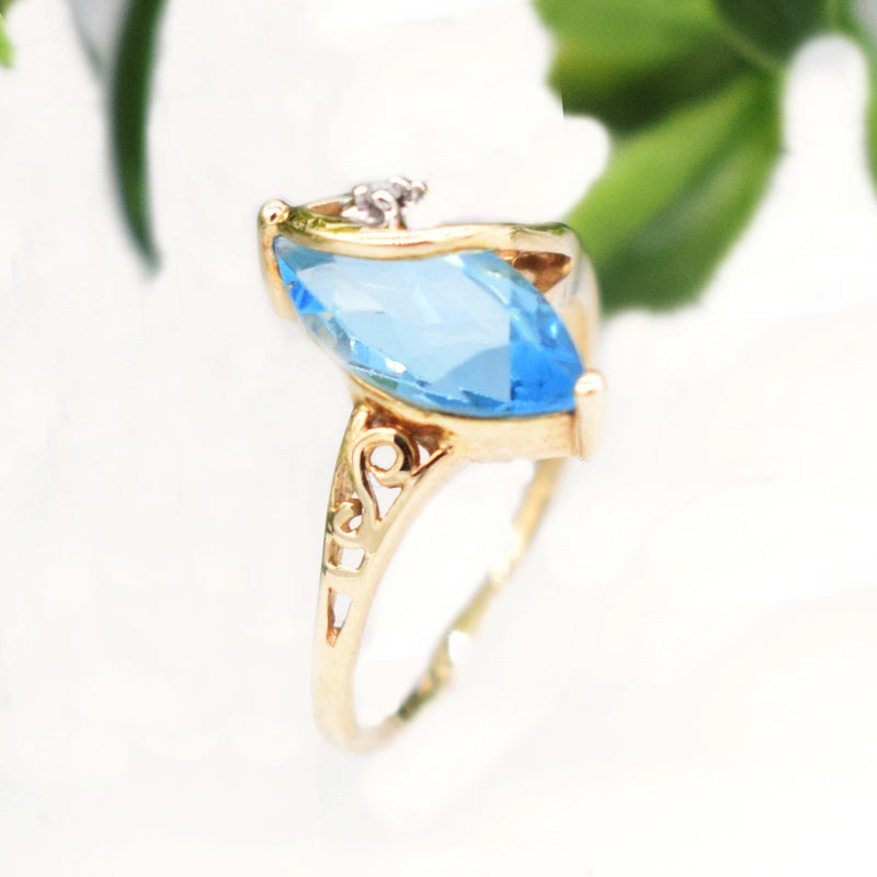 10k Yellow Gold Filigree Band Blue Topaz & Diamond Ring Size 6