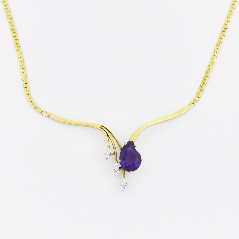 "14k Yellow Gold Estate 16"" Amethyst & Diamond Choker Necklace"