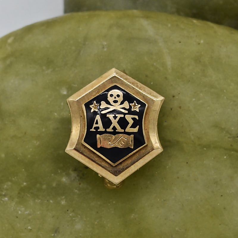 10k Yellow Gold Antique Enamel Alpha Chi Sigma Pin