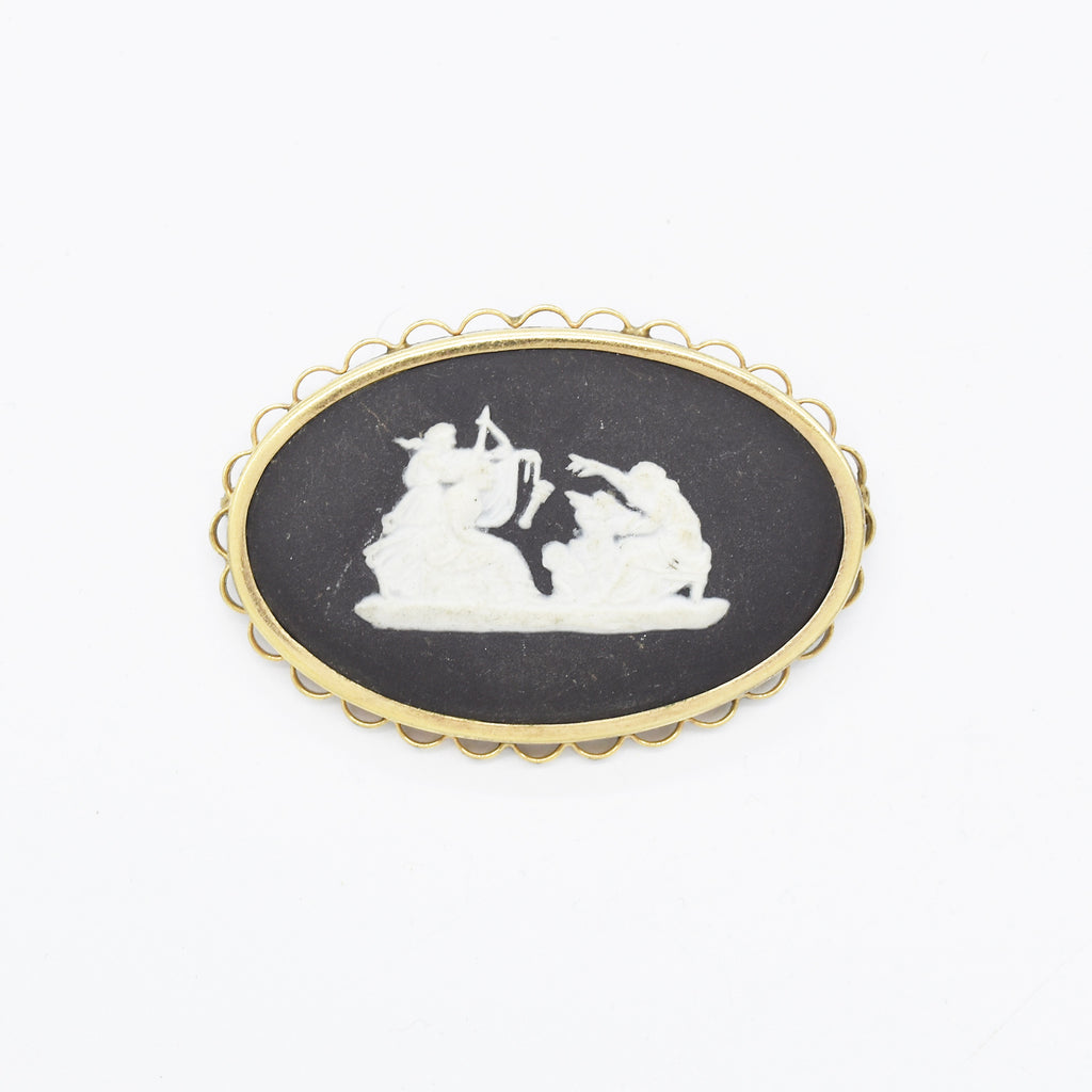 Gold Filled G.F. Vintage Wedgewood Oval Carved Cameo Pin/Brooch