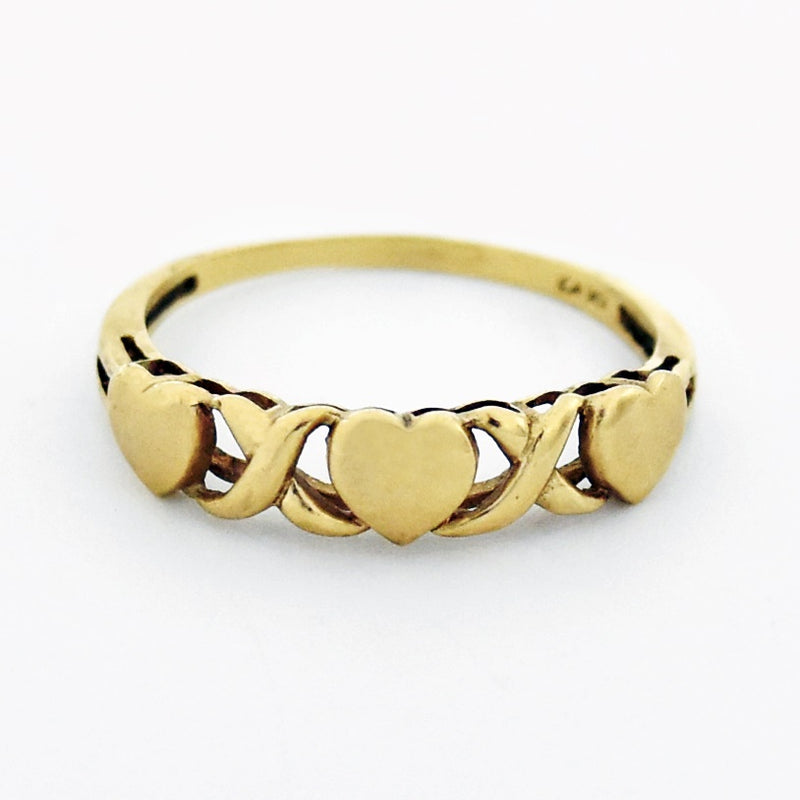 10k Yellow Gold Estate X & O Heart Love Ring Size 9