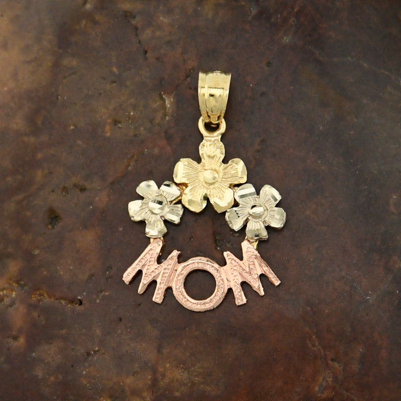 14k Tri Colored Gold Estate Textured Flower Mom Pendant