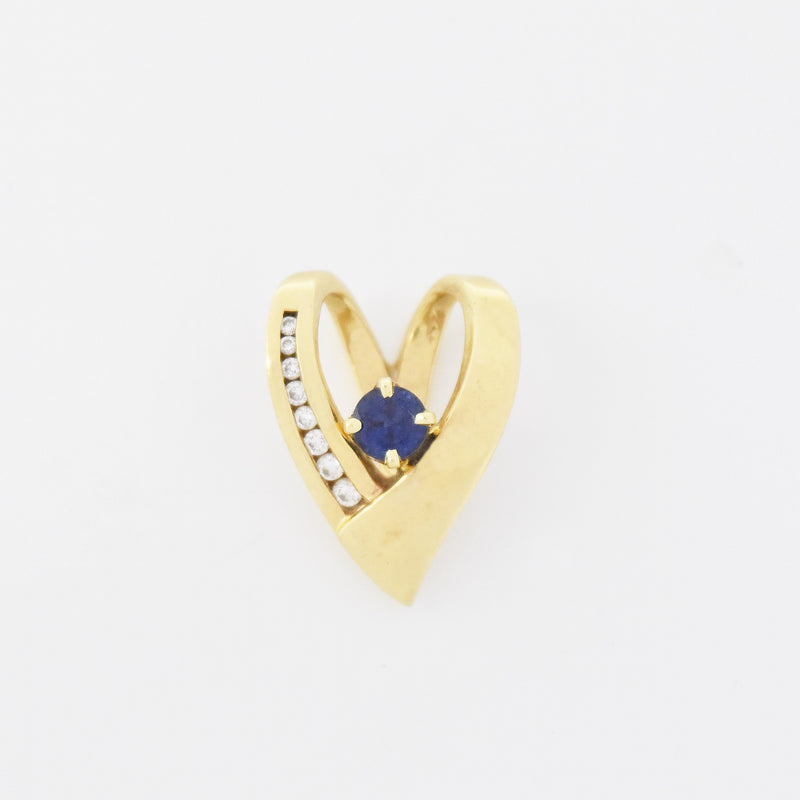 14k Yellow Gold Estate Open Heart Sapphire & Diamond Pendant