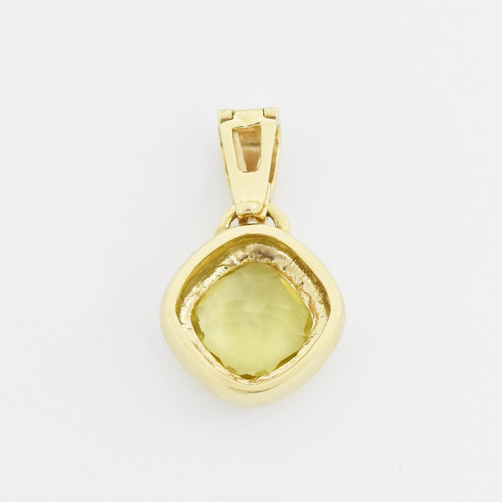 "14k Yellow Gold Estate 1"" Drop/Dangle Peridot Clip On Pendant"