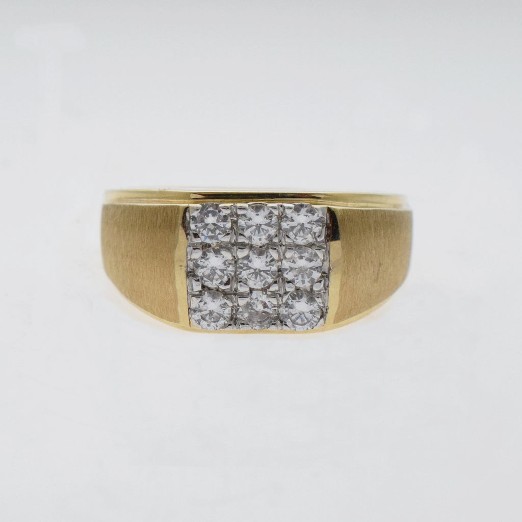10k Yellow Gold Estate Textured Square CZ Ring Size 12