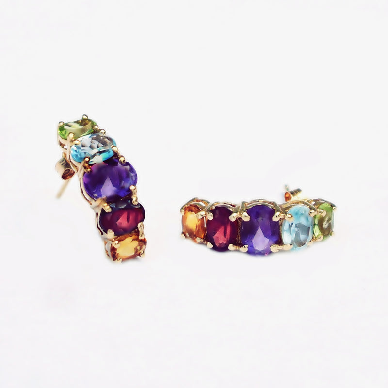 14k Yellow Gold Multi Colored Gemstone Drop/Dangle Post Earrings