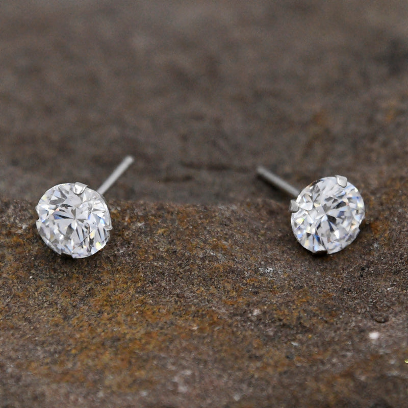 14k White Gold Estate CZ Gemstone Post Earring