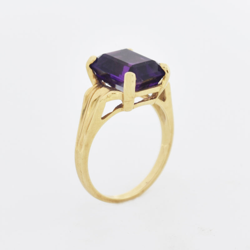 14k Yellow Gold Vintage Textured Amethyst Solitaire Ring Size 5.75