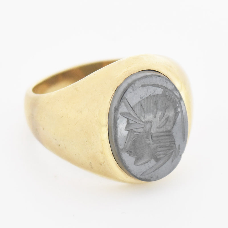 10k Yellow Gold Antique Carved Hematite Soldier Ring Size 10.25
