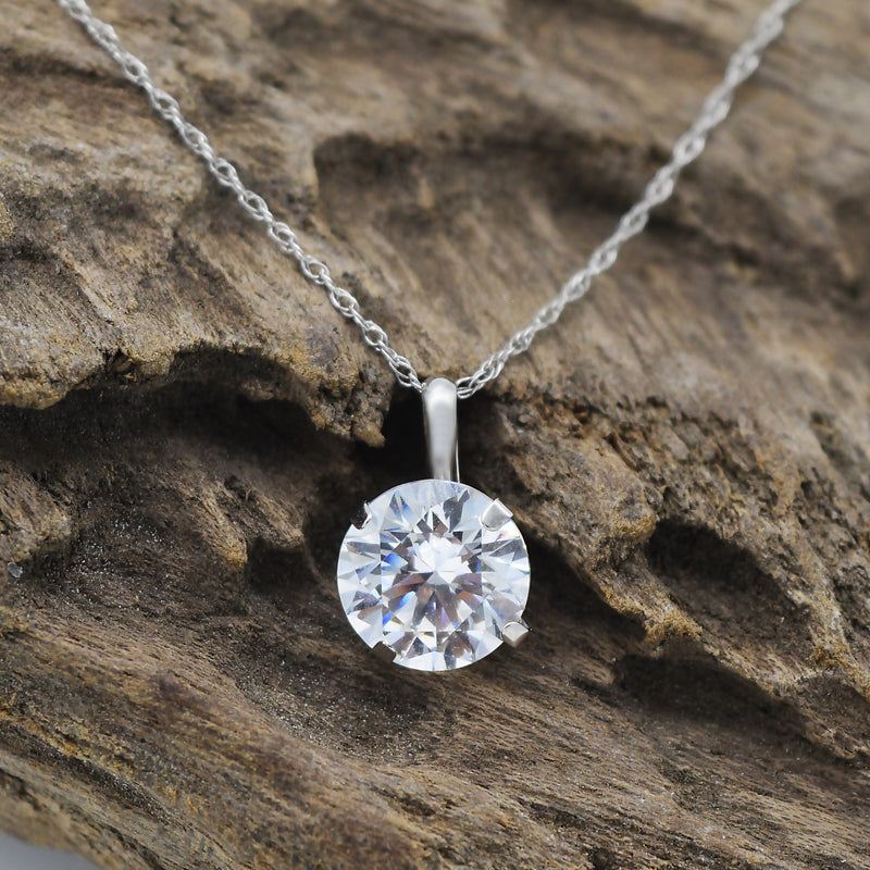 "14k White Gold Estate 18"" Disappearing Link CZ Solitaire Necklace"