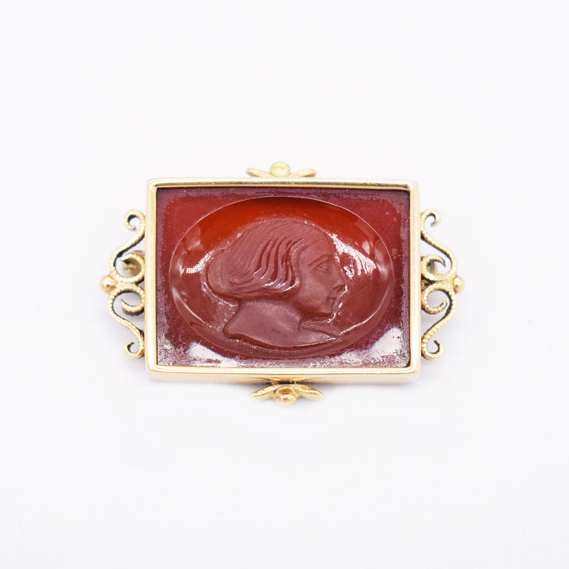 14k Yellow Gold Antique Carved Carnelian Brooch/Pin
