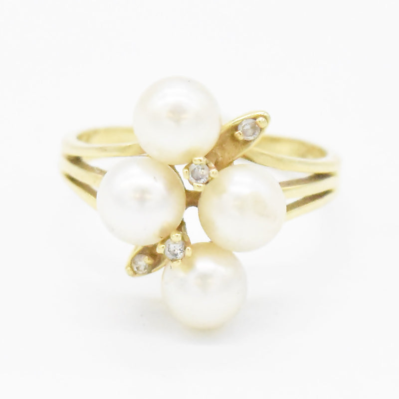 14k Yellow Gold Estate Open Band Pearl & Diamond Ring Size 6.5