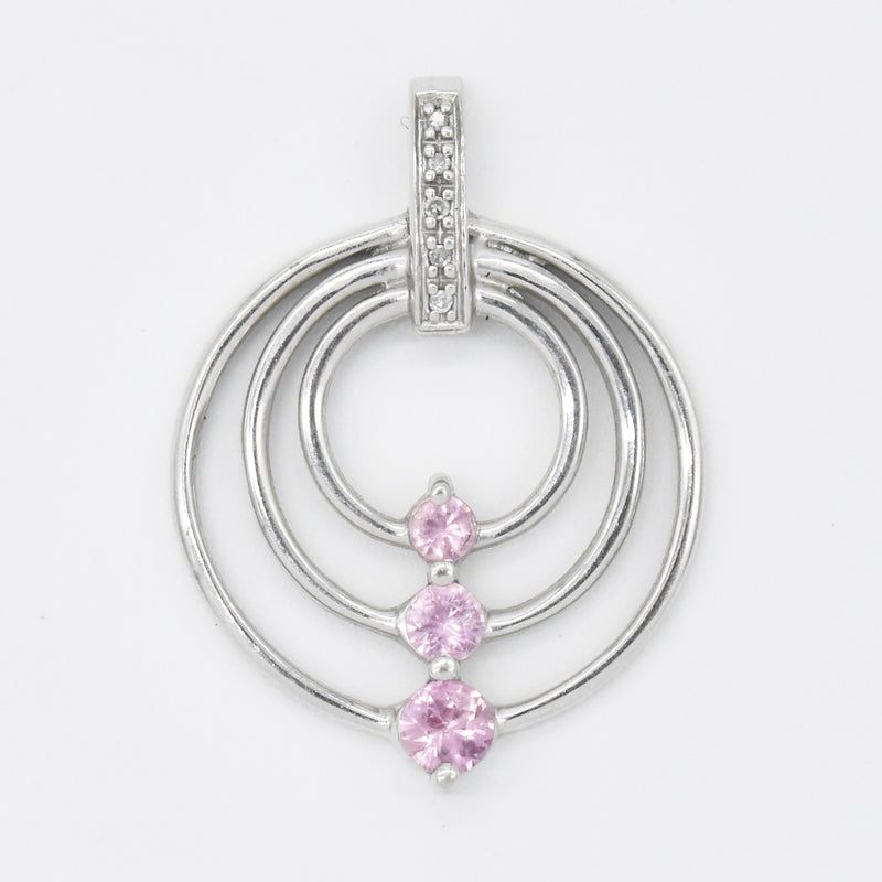 10k White Gold Estate 3 Circle Pink Topaz & Diamond Drop Pendant