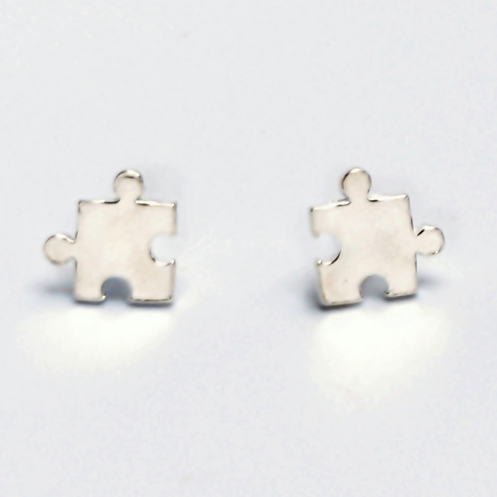 New Sterling Silver 925 Jigsaw Puzzle Piece Studs/Stud Earrings