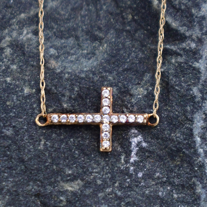 "10k Yellow Gold Estate CZ Gemstone Cross Religious Necklace 19"" Long"