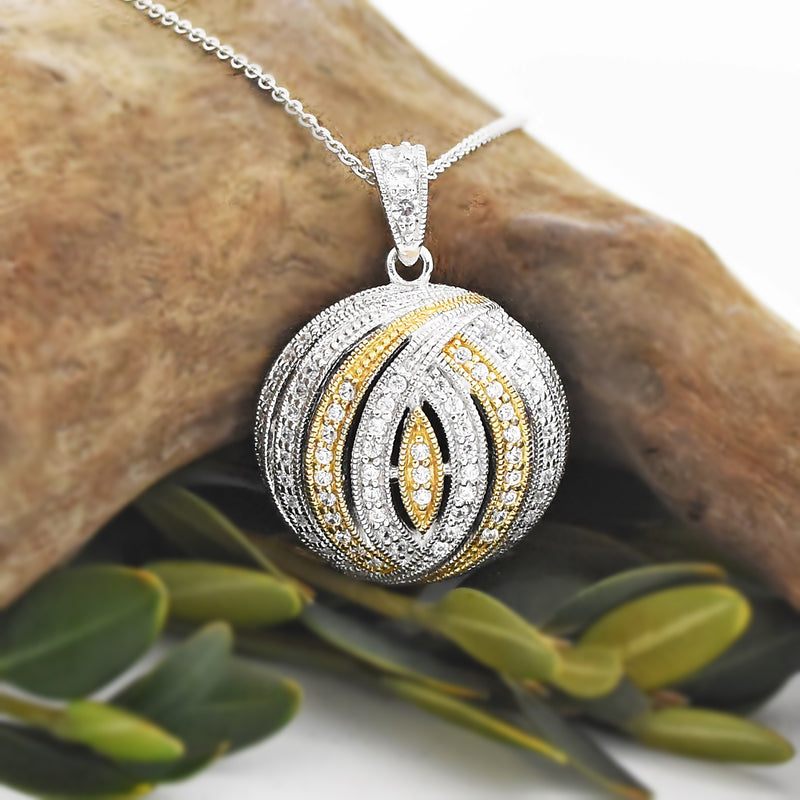 "Sterling Silver 925 ESPOSITO Diamonique 18"" CZ Dome Pendant"
