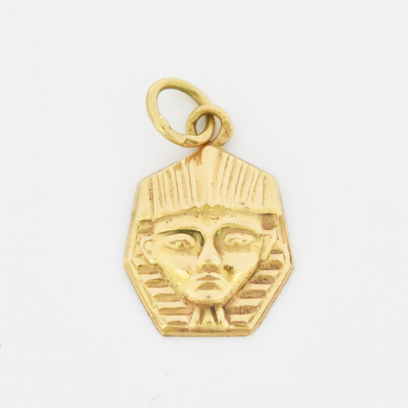 14k Yellow Gold Estate Textured Egyptian Face Pendant