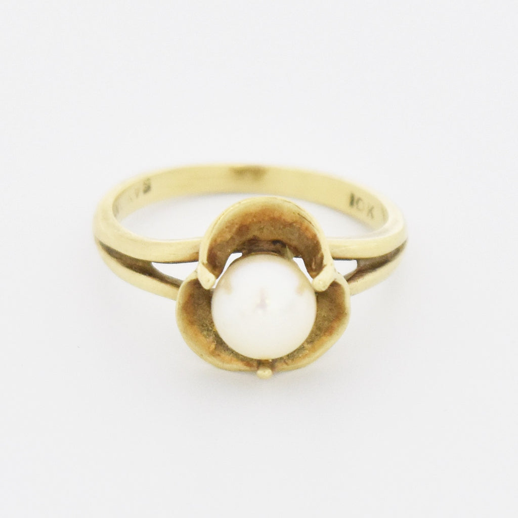 10k Yellow Gold Estate Pearl Flower Ring Size 6