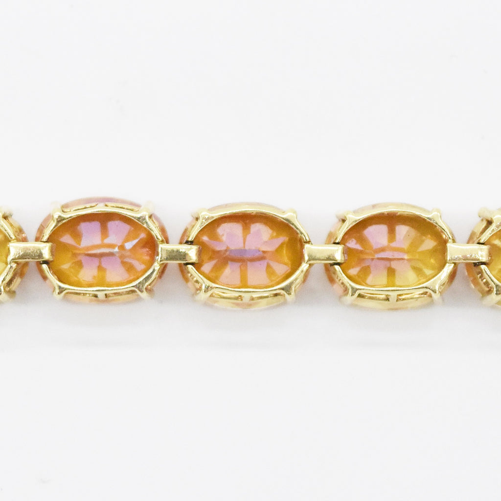 "14k Yellow Gold Estate Fancy 7"" Mystic Topaz Tennis Bracelet"