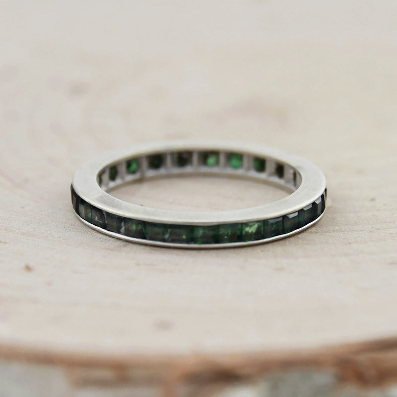14k White Gold Estate Green Spinel Gemstone Band/Ring Size 7