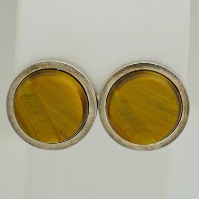 Sterling Silver 950 Mexico Tiger Eye Earrings